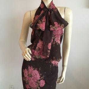 New vtg Express scarf neck rose pattern halter top